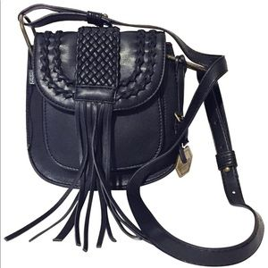 Hayden-Harnett vegan leather fringe handbag